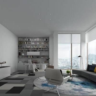 办公室, 多人沙发, 沙发组合, 装饰柜, 书柜, 置物柜, 办公桌椅, 单椅, 茶几