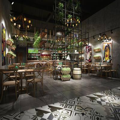 LOFT餐厅, 餐桌, 餐椅, 单人椅, 装饰架, 吊灯, 绿植植物, 装饰画, 挂画, 摆件, 装饰品, 陈设品, 工业风