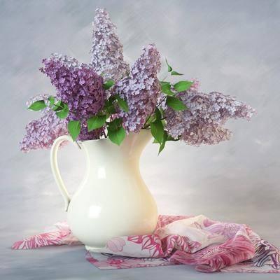 花瓶, 花卉, 丝绸, 陶瓷, 现代