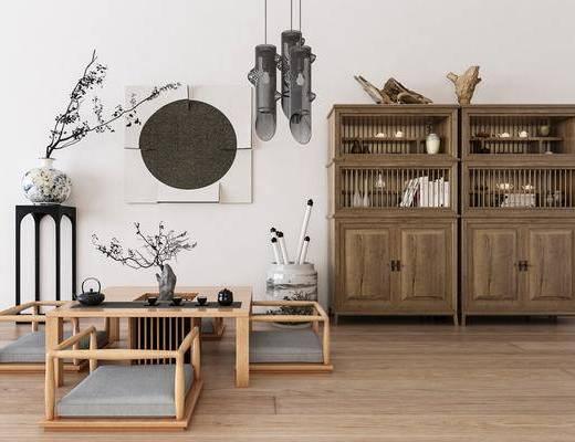 茶桌椅, 茶桌, 单人椅, 花瓶, 吊灯, 书柜, 装饰柜, 书籍, 茶具, 摆件, 装饰品, 陈设品, 墙饰, 新中式