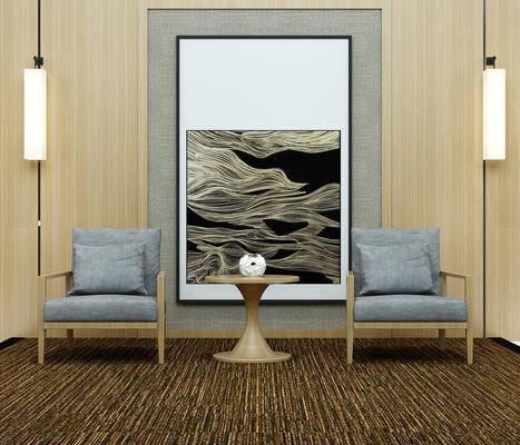 现代, 椅子, 单人椅, 圆几, 茶几, 摆件, 装饰画, 挂画