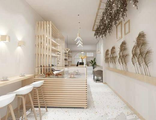 店铺, 桌椅组合, 置物架, 吊灯, 墙饰, 壁灯, 展柜