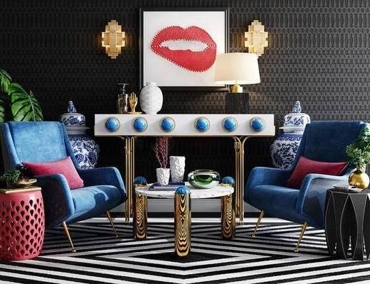 单人沙发, 茶几, 端景台, 台灯, 装饰画, 壁灯, 陈设品