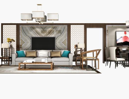 沙发组合, 中式, 茶几, 餐桌椅, 灯具