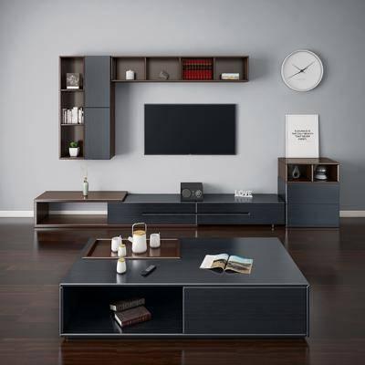 电视柜, 茶几, 装饰柜, 置物柜, 现代