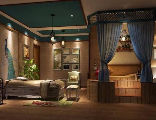 美式会所, 美容店, 美式美容店, 床, 吊灯, 植物, 壁灯, 卫生间, 摆件, 装饰画, 挂画