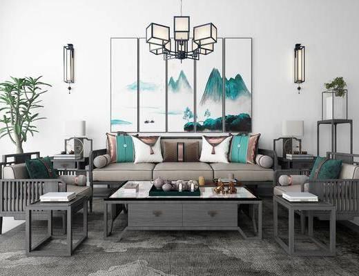 沙发组合, 多人沙发, 茶几, 单人沙发, 边几, 台灯, 壁灯, 装饰架, 吊灯, 风景画, 装饰画, 挂画, 组合画, 绿植植物, 茶具, 地毯, 新中式