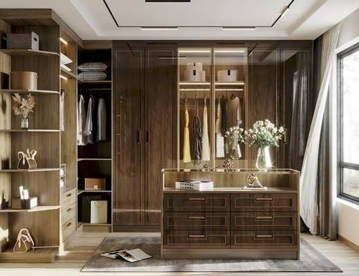 衣帽间, 衣柜, 中岛, 窗帘, 壁镜