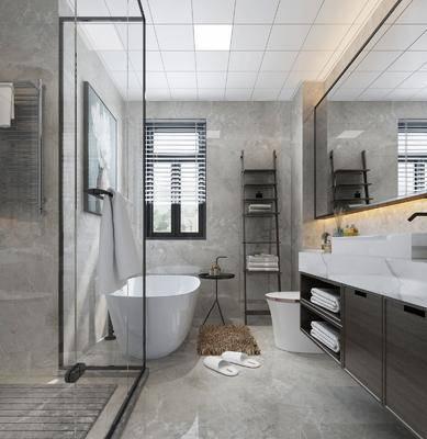 卫生间, 洗手台, 浴缸, 马桶, 装饰镜, 装饰画, 挂画, 现代