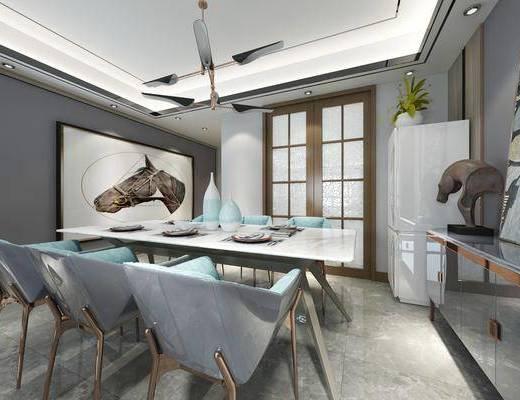 客厅, 餐厅, 沙发组合, 桌椅组合