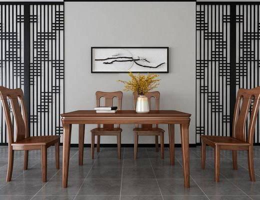 桌椅组合, 餐桌, 餐椅, 单人椅, 花瓶花卉, 墙饰, 中式