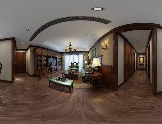 客厅, 餐厅, 家装全景, 多人沙发, 边几, 台灯, 壁灯, 茶几, 单人沙发, 装饰画, 挂画, 餐桌, 餐椅, 单人椅, 餐具, 吊灯, 装饰柜, 摆件, 装饰品, 陈设品, 书柜, 书籍, 美式
