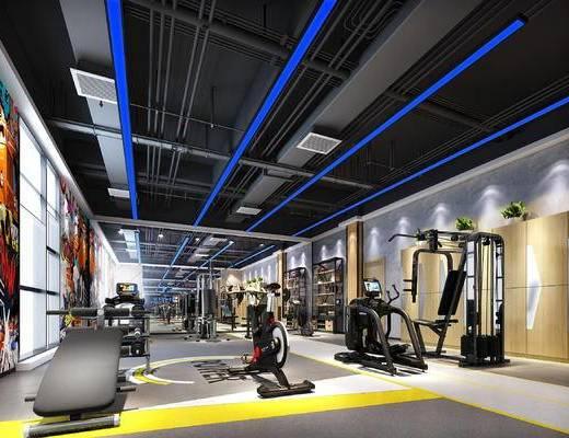 现代, 工业风, 健身房, 跑步机, 运动器材
