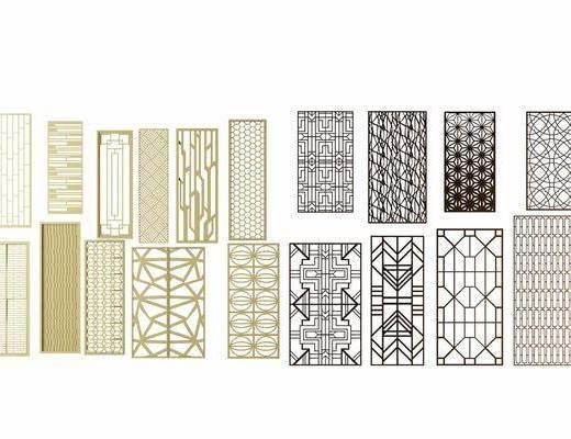 隔断屏风, 雕刻板组合, 新中式