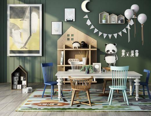 桌椅组合, 墙饰, 装饰画, 置物柜, 玩具, 书籍