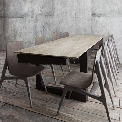 餐桌, 餐椅, 木板, 现代