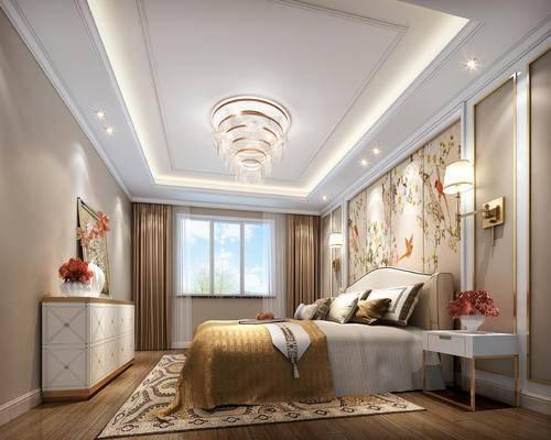 简欧, 卧室, 吊灯, 床, 床头柜, 台灯, 地毯, 壁灯, 花瓶, 挂画, 置物柜, 窗帘
