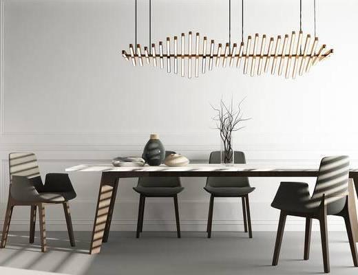 桌子, 餐桌, 单人椅, 吊灯, 装饰品, 陈设品, 现代