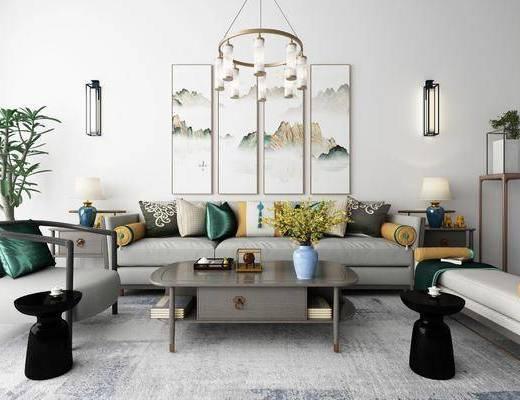 沙发组合, 多人沙发, 茶几, 单人沙发, 边几, 台灯, 装饰画, 挂画, 组合画, 壁灯, 吊灯, 装饰架, 盆栽, 躺椅, 摆件, 装饰品, 陈设品, 新中式