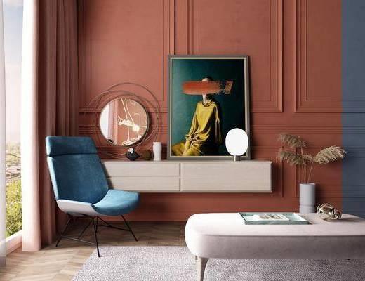 梳妝臺, 單椅, 沙發凳
