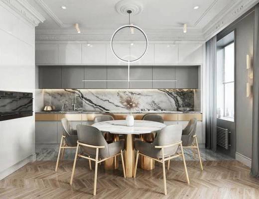 桌椅組合, 餐桌, 吊燈, 廚具組合