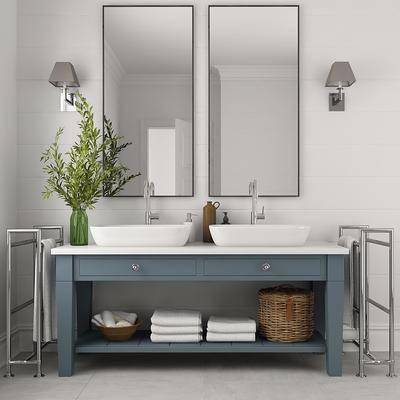 卫浴柜架, 洗手台, 现代洗手台, 现代卫浴柜架, 组合, 毛巾, 盆栽, 壁灯