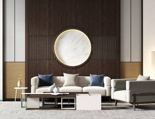 新中式沙发, 茶几, 组合沙发, 单人沙发, 三人沙发, 新中式