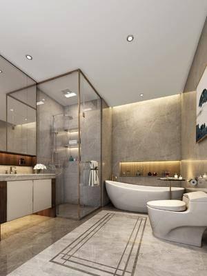卫生间, 浴缸, 马桶, 花洒, 洗手台, 装饰画, 装饰镜, 新中式
