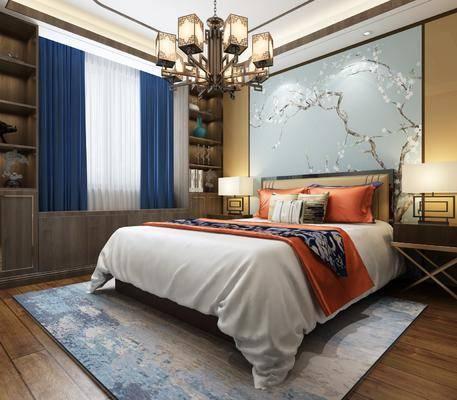 卧室, 双人床, 床头柜, 台灯, 吊灯, 装饰柜, 摆件, 装饰品, 陈设品, 新中式