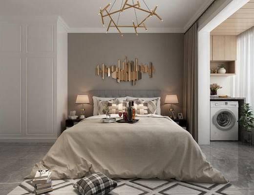 双人床, 墙饰, 地毯, 洗衣机, 床头柜, 台灯, 电视柜