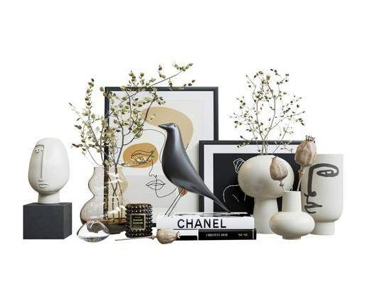 现代, 饰品, 摆件, 组合