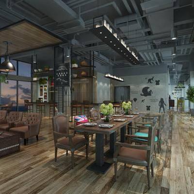 餐厅, 餐桌椅, 桌椅组合, 餐具, 工业风