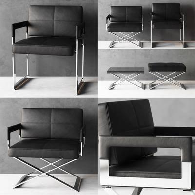 单人沙发, 脚踏, 沙发, 现代