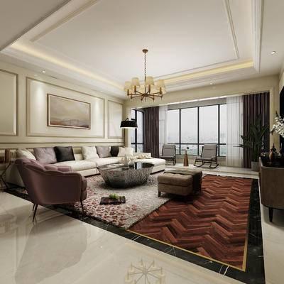 客厅, 沙发, 装饰画, 吊灯, 电视柜, 椅子