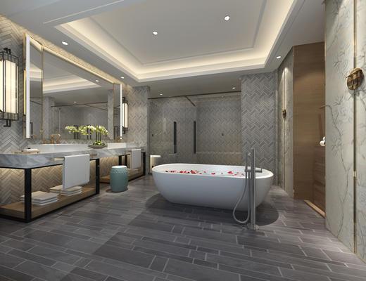 卫生间, 淋浴间, 浴缸, 镜子, 洗手台, 壁灯
