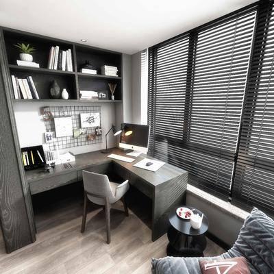 现代卧室书房阳台组合, 现代卧室, 现代书房, 电脑, 书架, 床, 沙发