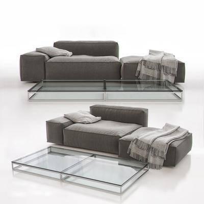 现在单人沙发沙发凳茶几组合, 现代, 沙发, 布艺沙发