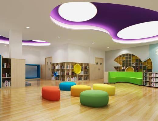 幼儿园, 图书馆, 书柜, 装饰柜, 书籍, 装饰品, 陈设品, 凳子, 现代