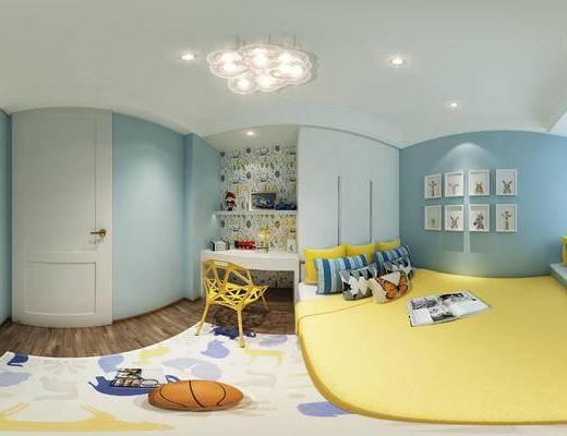 儿童房, 全景, 全景模型, 360, 卧室, 书桌, 床