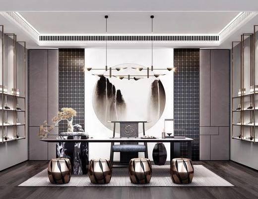 茶室, 茶桌椅组合, 装饰架, 吊灯, 凳子组合, 摆件组合, 新中式