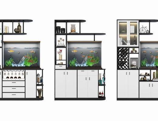 摆件组合, 酒柜鱼缸, 现代