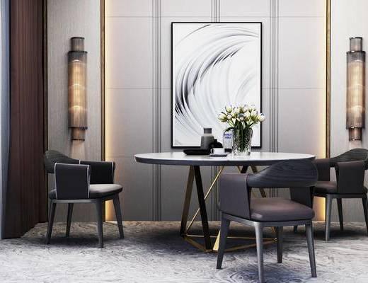 新中式桌椅组合, 新中式壁灯, 装饰画, 花瓶, 椅子