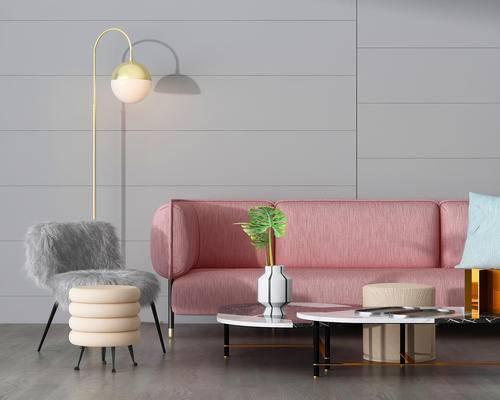沙发, 休闲椅, 灯具, 茶几, 边几