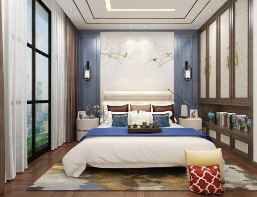 双人床, 壁灯, 背景墙, 衣柜, 床具组合
