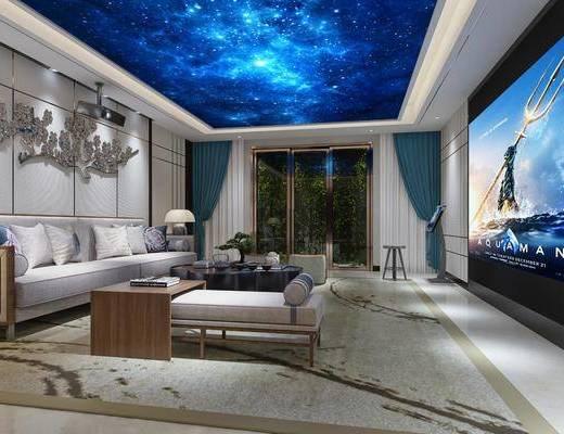 影音室, 新中式影音室, 沙发组合, 茶几, 摆件组合, 屏幕