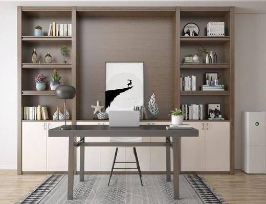 书柜书桌, 展示柜, 台灯, 单人椅, 装饰画, 挂画, 书籍, 摆件, 装饰品, 陈设品, 现代