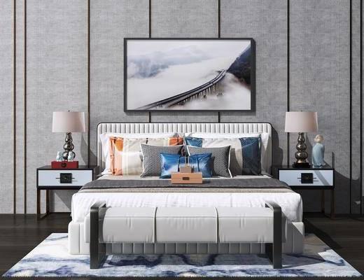 床具组合, 挂画, 台灯, 摆件组合, 新中式