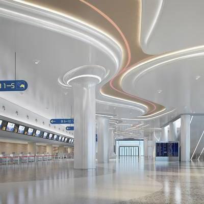 机场, 出发大厅, 大堂, 大厅, 现代