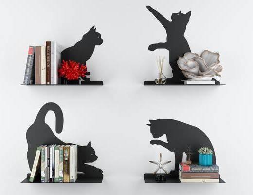 猫咪造型墙面, 隔板书架, 书籍摆件, 现代