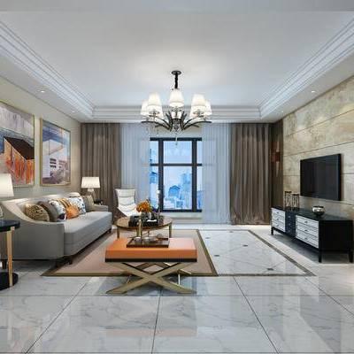 客厅, 现代, 现代客厅, 现代沙发, 沙发组合, 沙发茶几组合